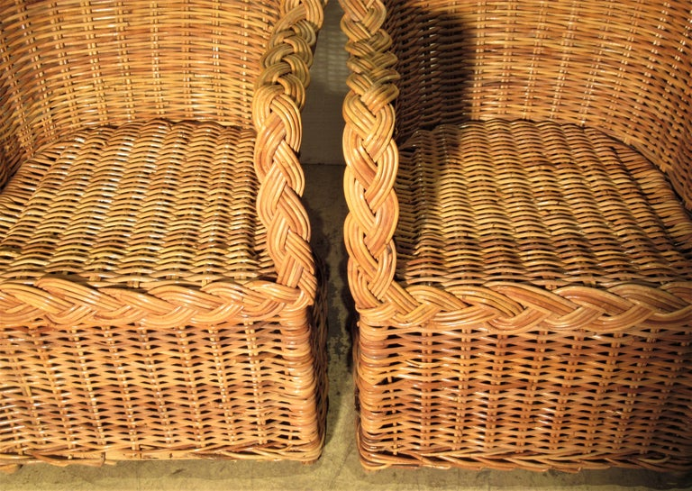 1970s Kreiss Collection Natural Wicker Lounge Chairs For