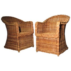 1970s Kreiss Collection Natural Wicker Lounge Chairs