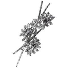 1970er Jahre Kutchinsky London Diamant Spray Brosche Platin