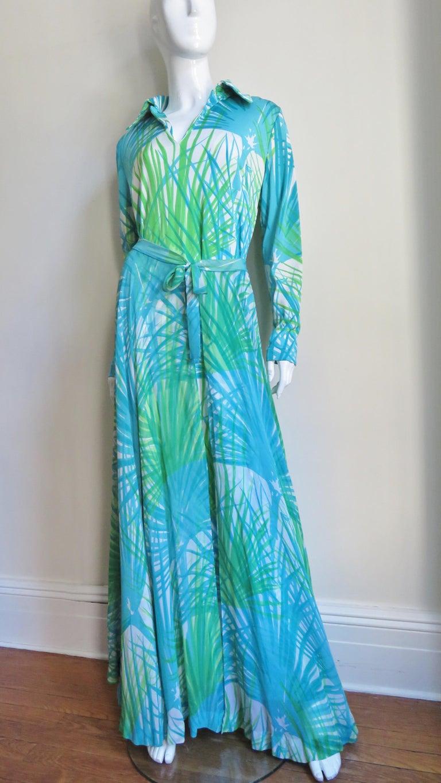 Blue 1970s La Mendola Maxi Dress and Silk Over Skirt For Sale