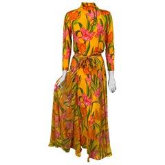 1970's La Mendola Parrot Tulip Patterned Four Piece Silk Dress and Overskirt
