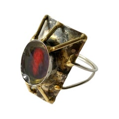 1970s La Tappy Handmade Artisan Studio Sterling Silver Resin Brass Cuff Bracelet