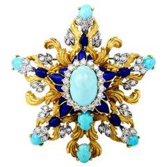 1970's La Triomphe GIA Turquoise Diamond Enamel 18k Gold Pin