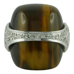 1970s La Triomphe Tiger Eye Diamond Gold Ring