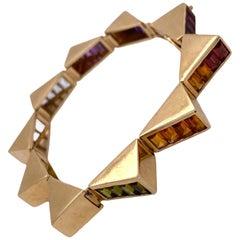 1970s Lagos Multi-Color Gemstone 18 Karat Yellow Gold Vintage Bracelet