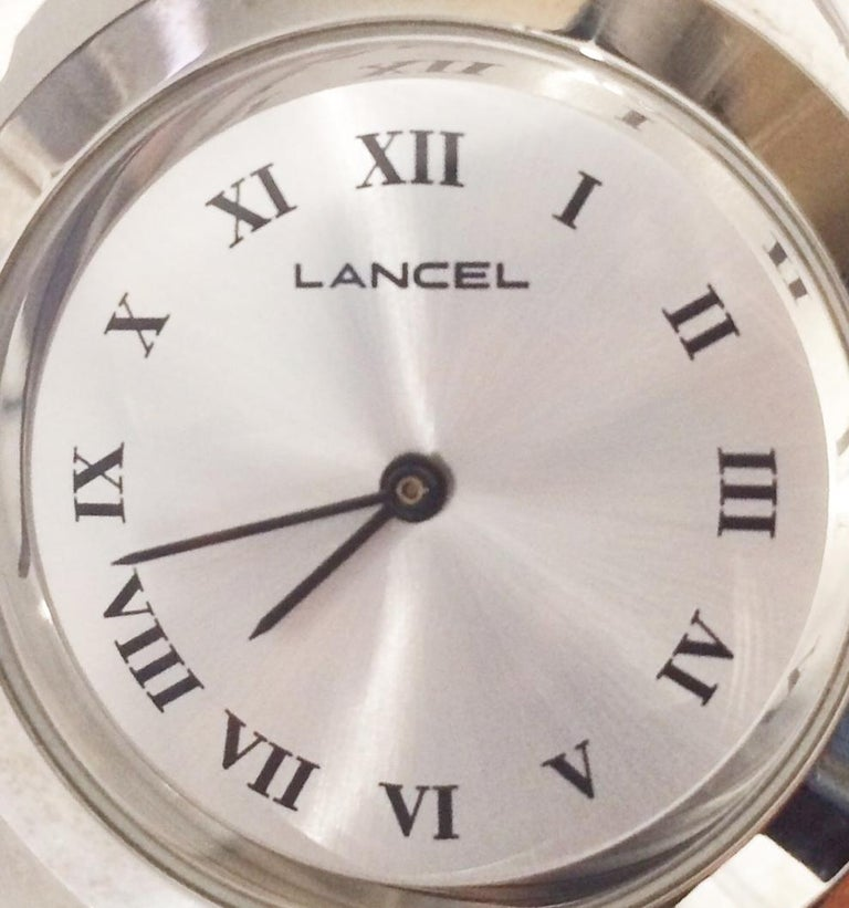 Women's or Men's 1970s Lancel Silver Decorative Flower Clock Watch For Sale