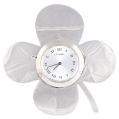 1970s Lancel Silver Decorative Flower Clock Watch