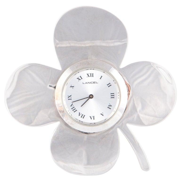 1970s Lancel Silver Decorative Flower Clock Watch For Sale