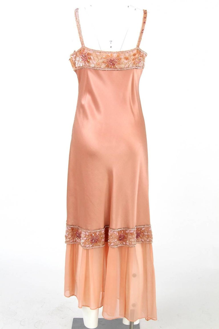 Orange 1970s Lancetti Salmon Pink Sequined Dress For Sale