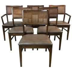 1970s Lane Furniture Caned Back Dining Chairs, Set of 6