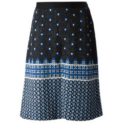 1970s Lanvin Blue Wool Jacquard Skirt