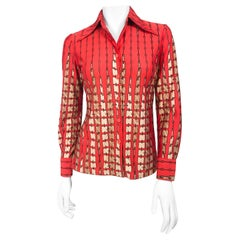 1970s Lanvin Red  Disco Printed Shirt