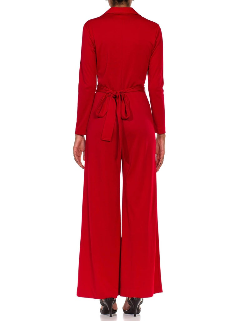 1970S LANVIN Red Polyester Button Down & Waist Tie Jumpsuit For Sale 7