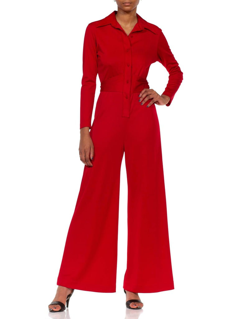 1970S LANVIN Red Polyester Button Down & Waist Tie Jumpsuit In Excellent Condition For Sale In New York, NY