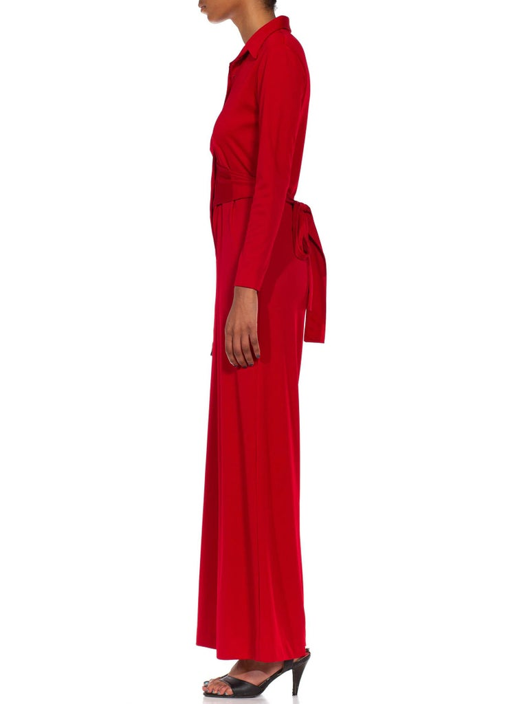 Women's 1970S LANVIN Red Polyester Button Down & Waist Tie Jumpsuit For Sale