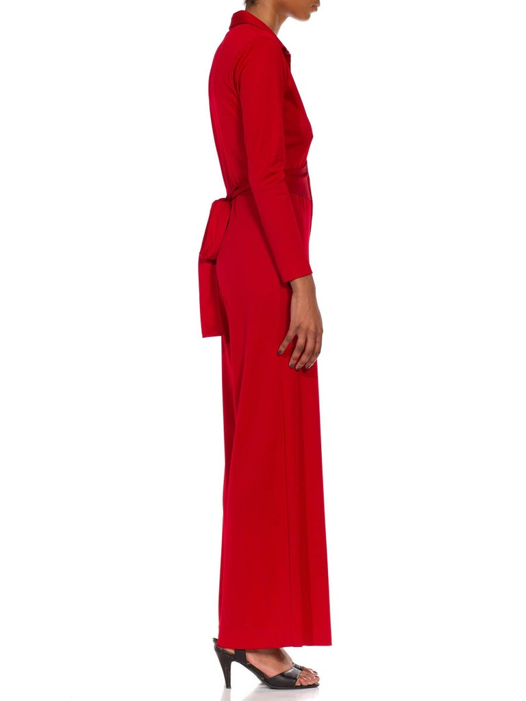 1970S LANVIN Red Polyester Button Down & Waist Tie Jumpsuit For Sale 1