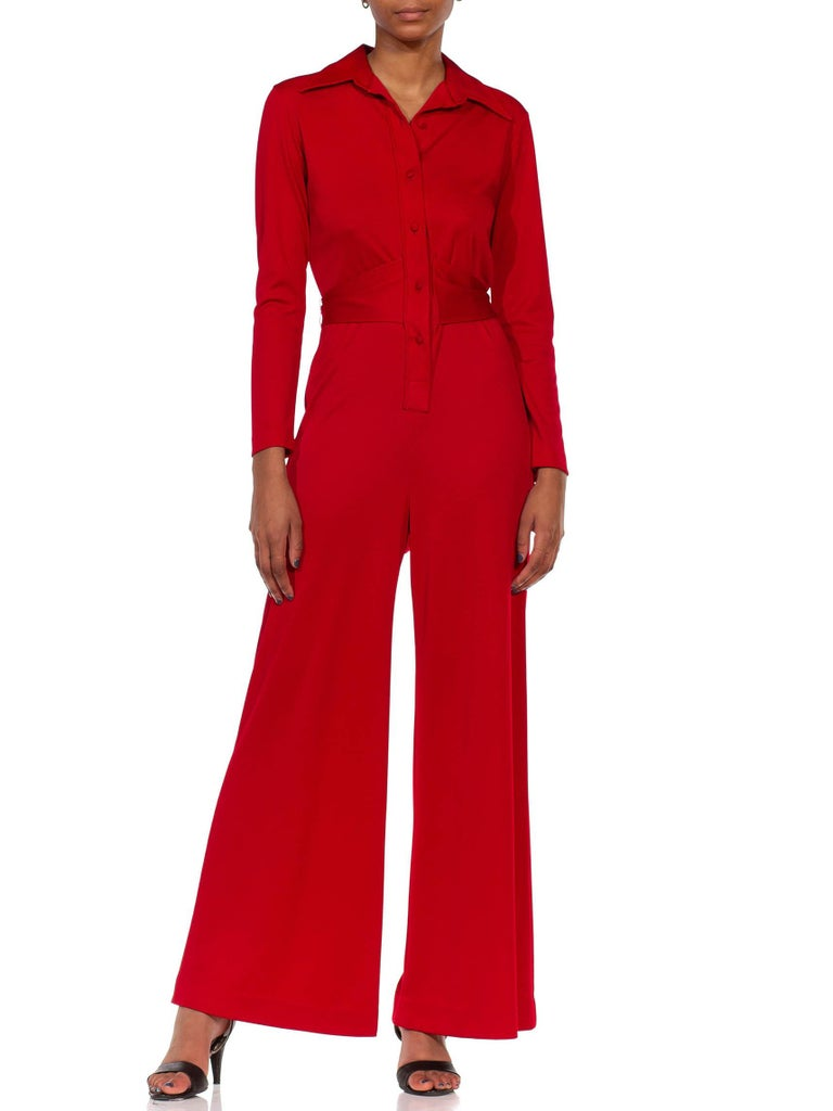 1970S LANVIN Red Polyester Button Down & Waist Tie Jumpsuit For Sale 2