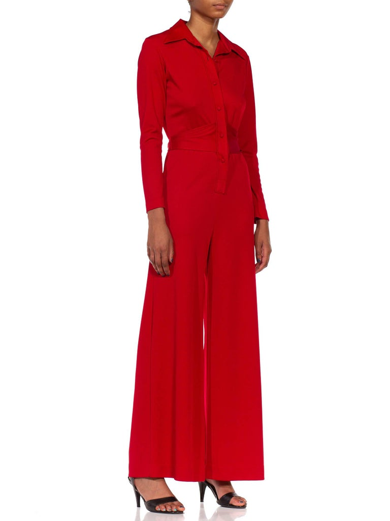 1970S LANVIN Red Polyester Button Down & Waist Tie Jumpsuit For Sale 3