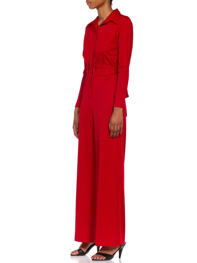 1970S LANVIN Red Polyester Button Down & Waist Tie Jumpsuit For Sale 4
