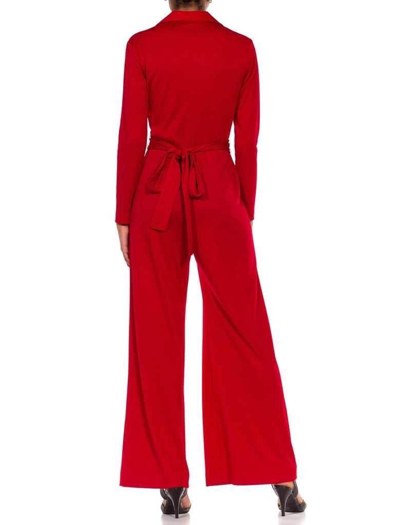 1970S LANVIN Red Polyester Button Down & Waist Tie Jumpsuit For Sale 5