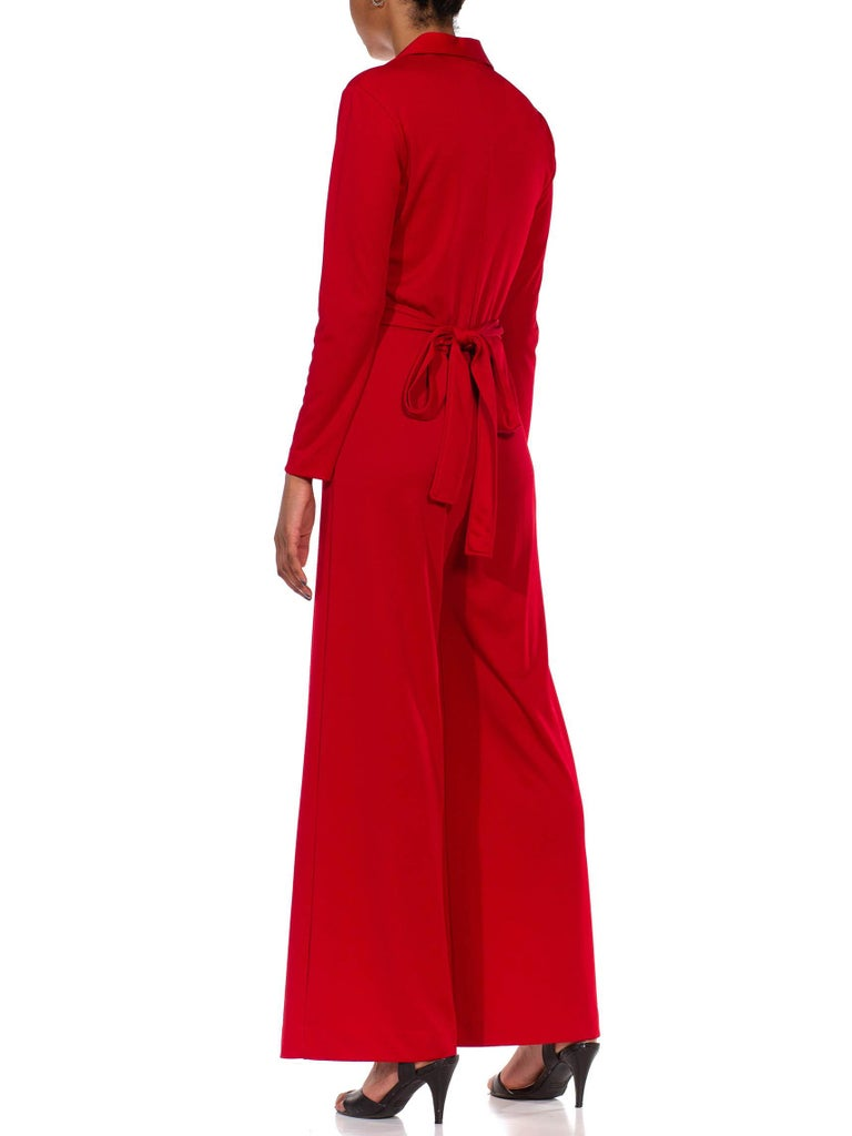 1970S LANVIN Red Polyester Button Down & Waist Tie Jumpsuit For Sale 6