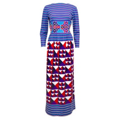 1970s Lanvin Stripe and Geometric Print Maxi Dress