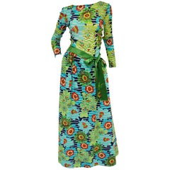 Lanvin Green and Blue Floral Dress with Sheer Bodice and Scoop Back, 1970s