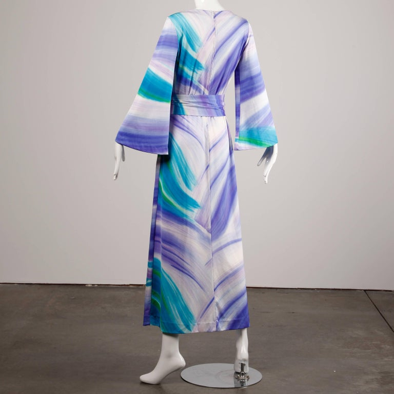 Women's 1970s Lanvin Vintage Hand Painted Jersey Knit Maxi Dress with Bell Sleeves For Sale