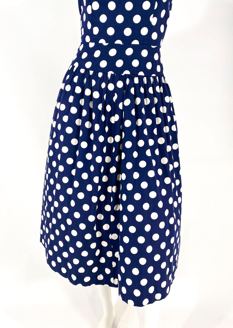 1970s Lanz Navy Polka Dot Dress In Good Condition For Sale In San Francisco, CA