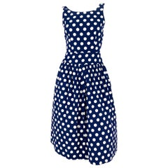 1970s Lanz Navy Polka Dot Dress