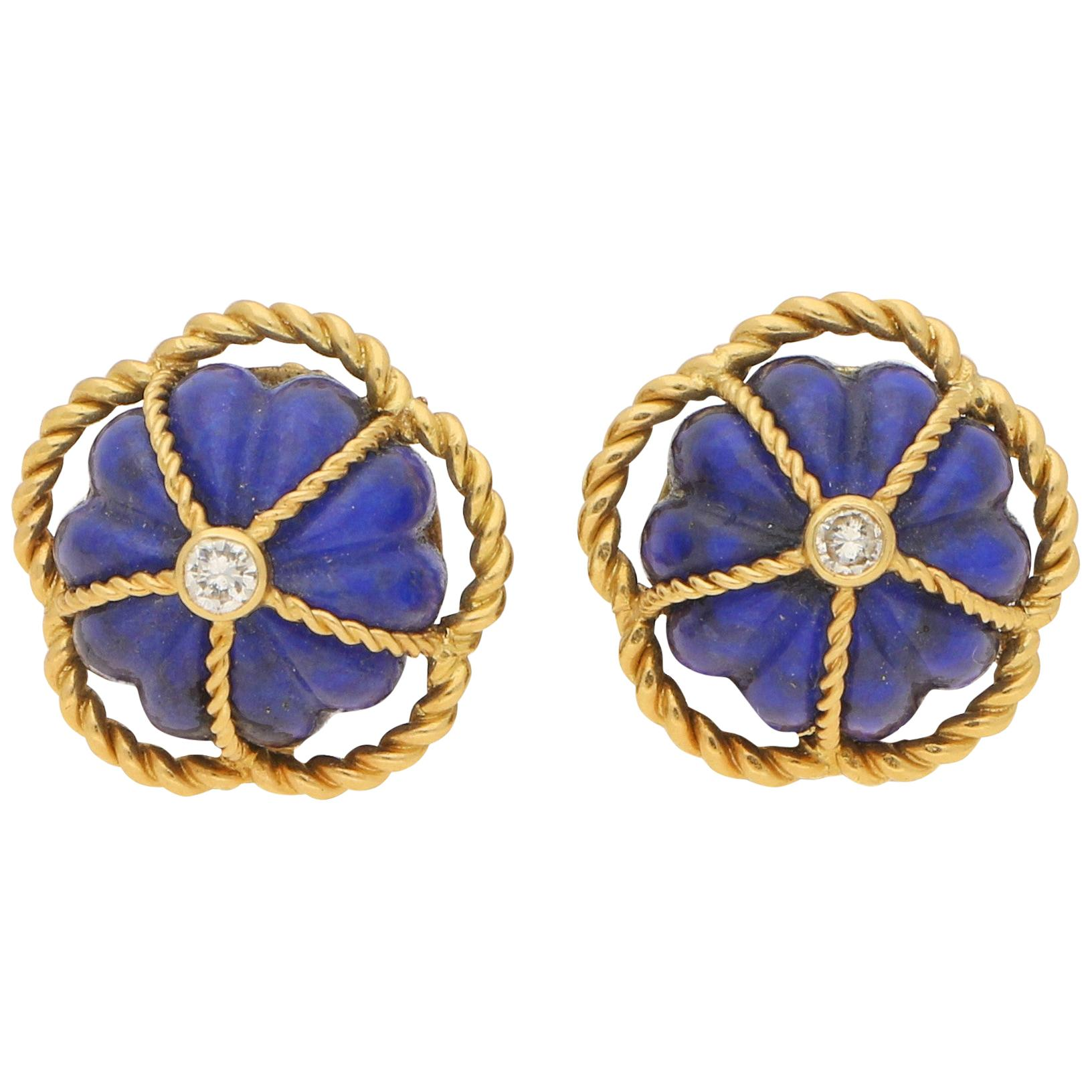 1970s Lapis Lazuli and Diamond Domed Clip-On Earrings in 18 Karat Yellow Gold