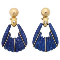 1970s Lapis Lazuli and Diamond Moveable Hanging Gold Doorknocker Earrings