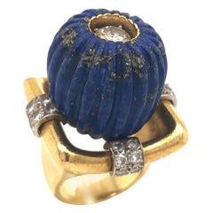 1970s Lapis Lazuli Gold and Diamond Statement Ring
