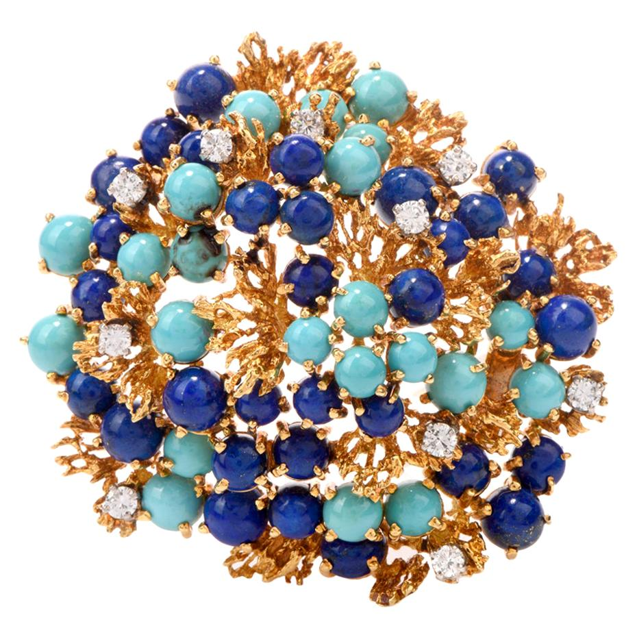 1970s Lapis Persian Turquoise 18 Karat Yellow Gold Nugget Brooch Pin