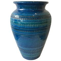 1970s Large Blue Rimini  Flavia Montelupo Bitossi Vase