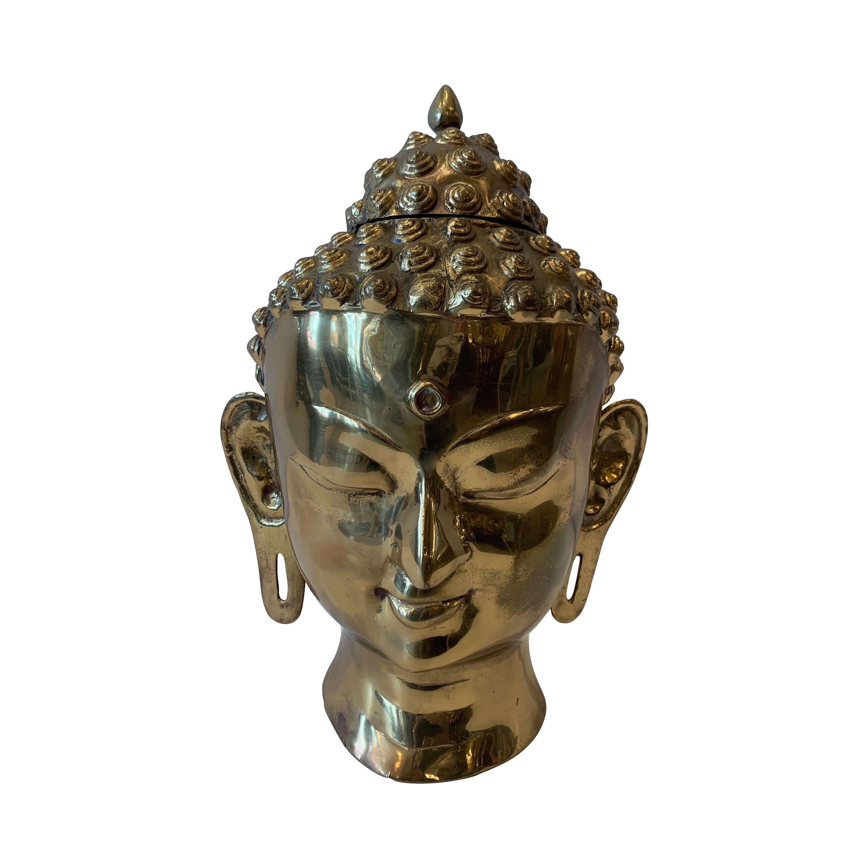 1970s Large Brass Buddha Head Sculpture