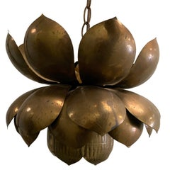 1970s Large Brass Lotus Pendant Light by Feldman