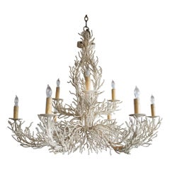 1970s Large Coral Iron Crafted Coral Form Chandelier in Cream