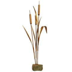 1970s Large French Gold Bulrush Sculpture Decorative Art