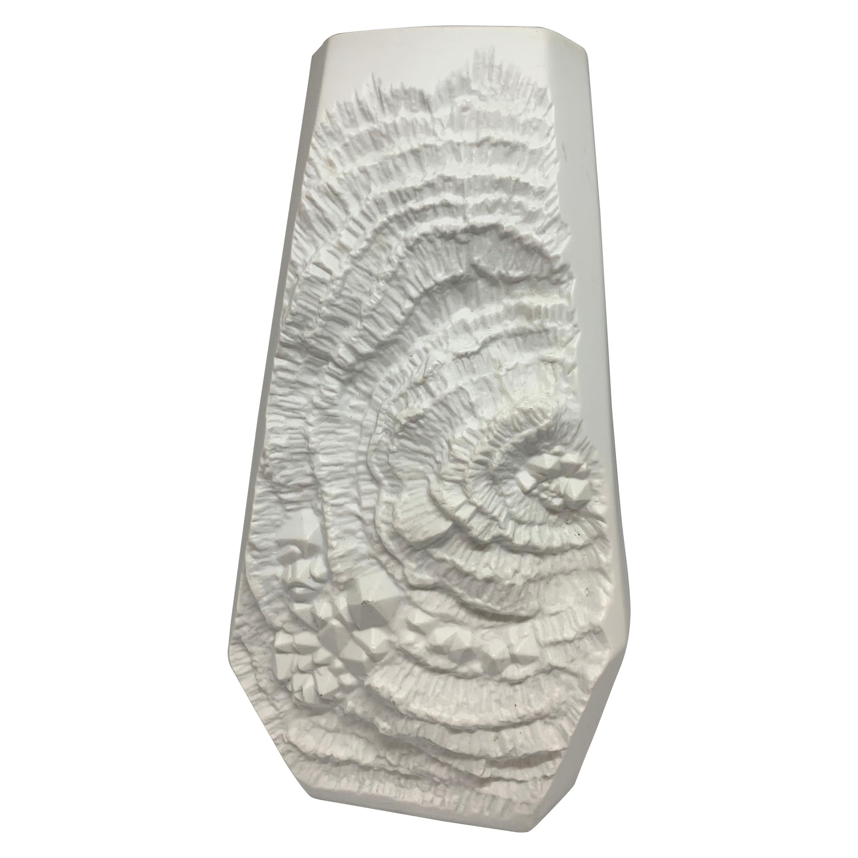 1970s Large German AK Kaiser Fossil Design White Bisque Op Art Octagonal Vase