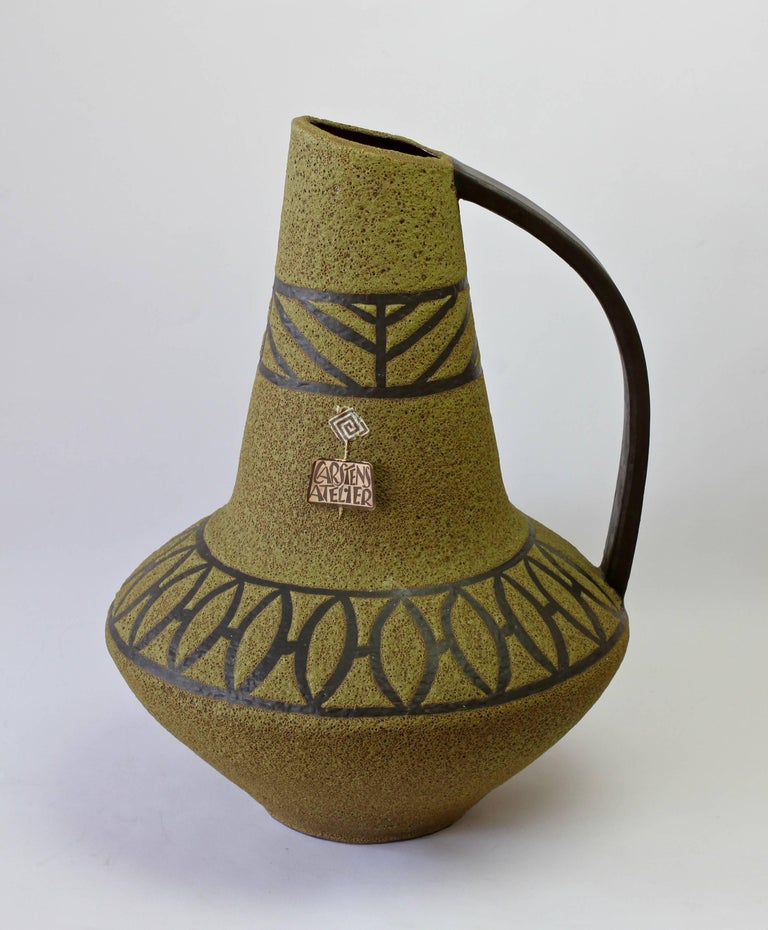 1970s Large Green Lava Glazed West German Pottery Floor Vase by Carstens Atelier For Sale 4
