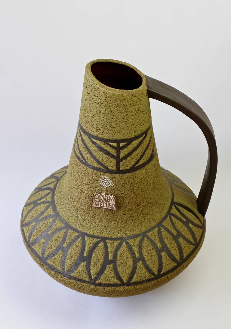1970s Large Green Lava Glazed West German Pottery Floor Vase by Carstens Atelier For Sale 5