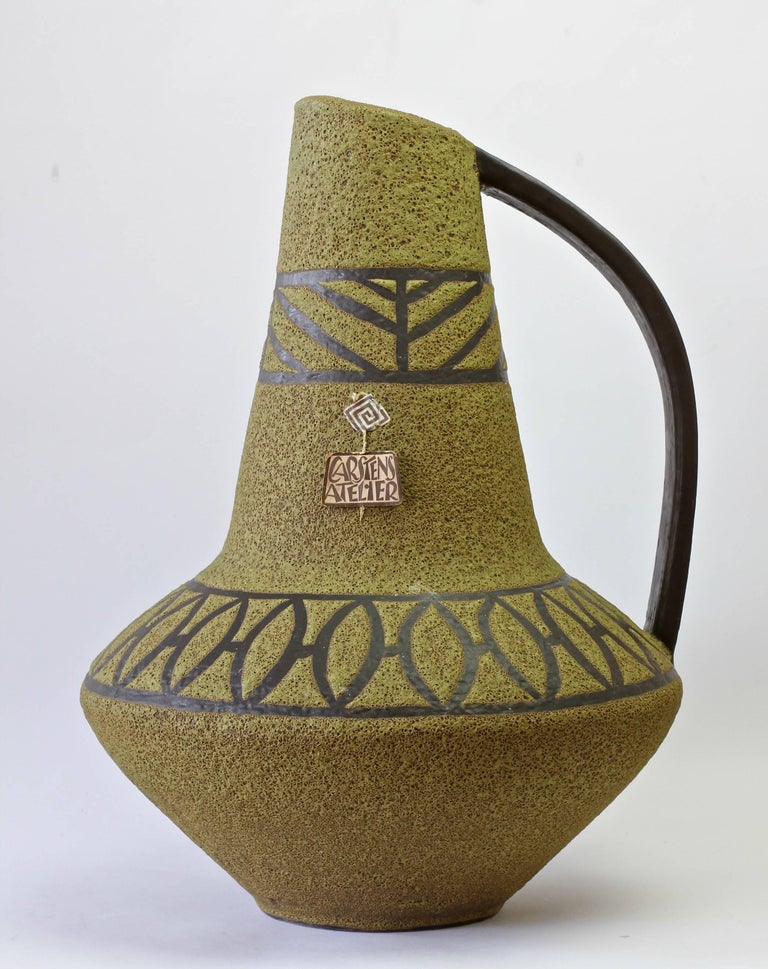 1970s Large Green Lava Glazed West German Pottery Floor Vase by Carstens Atelier For Sale 6