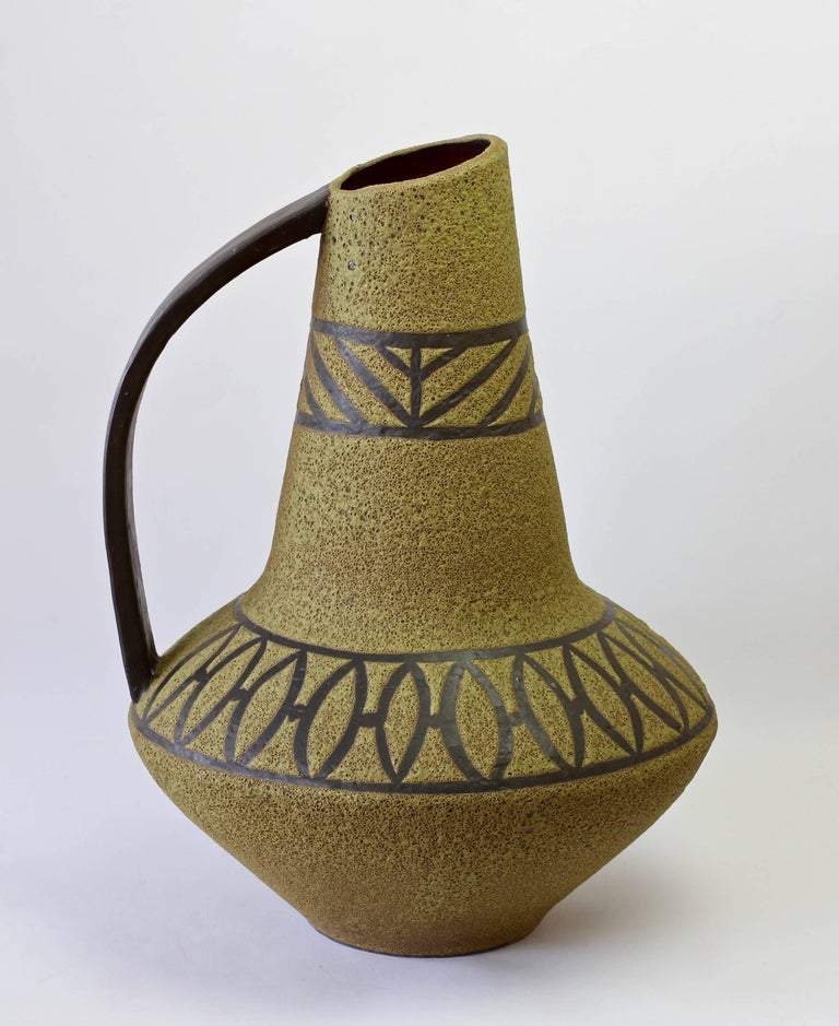 20th Century 1970s Large Green Lava Glazed West German Pottery Floor Vase by Carstens Atelier For Sale