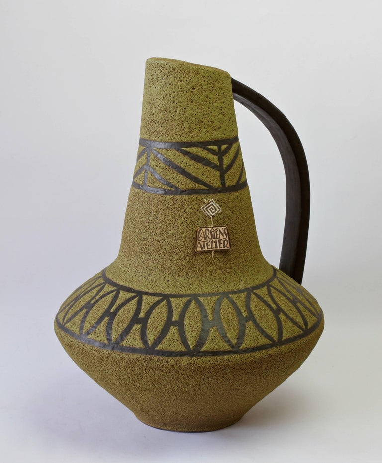 1970s Large Green Lava Glazed West German Pottery Floor Vase by Carstens Atelier For Sale 2