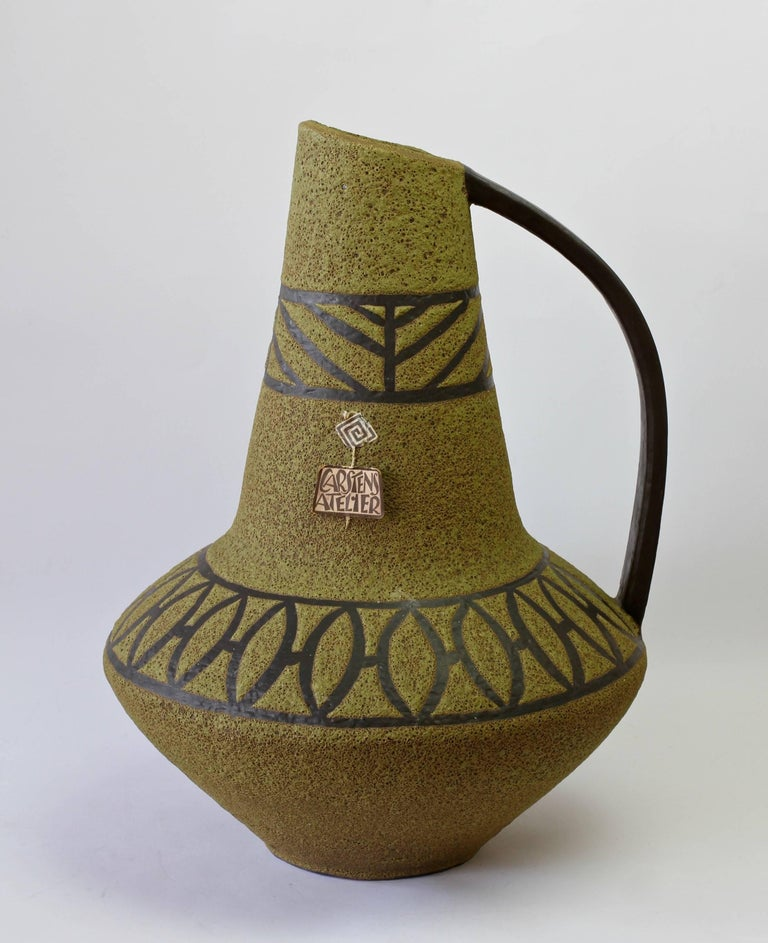 1970s Large Green Lava Glazed West German Pottery Floor Vase by Carstens Atelier For Sale 3