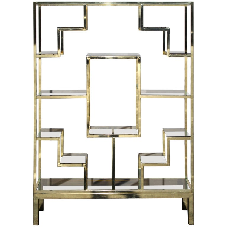 1970s Large Hollywood Regency Brass Italian Étagère with Geometric Design For Sale