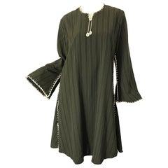 1970s Large Hunter Green Brown Pinstriped Rayon Crochet 70s Vintage Tunic Dress