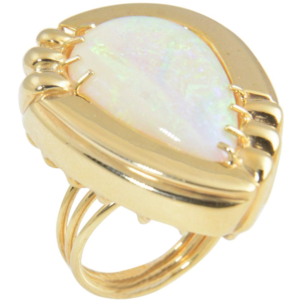 1970s Large Opal Yellow Gold Cocktail Statement Ring