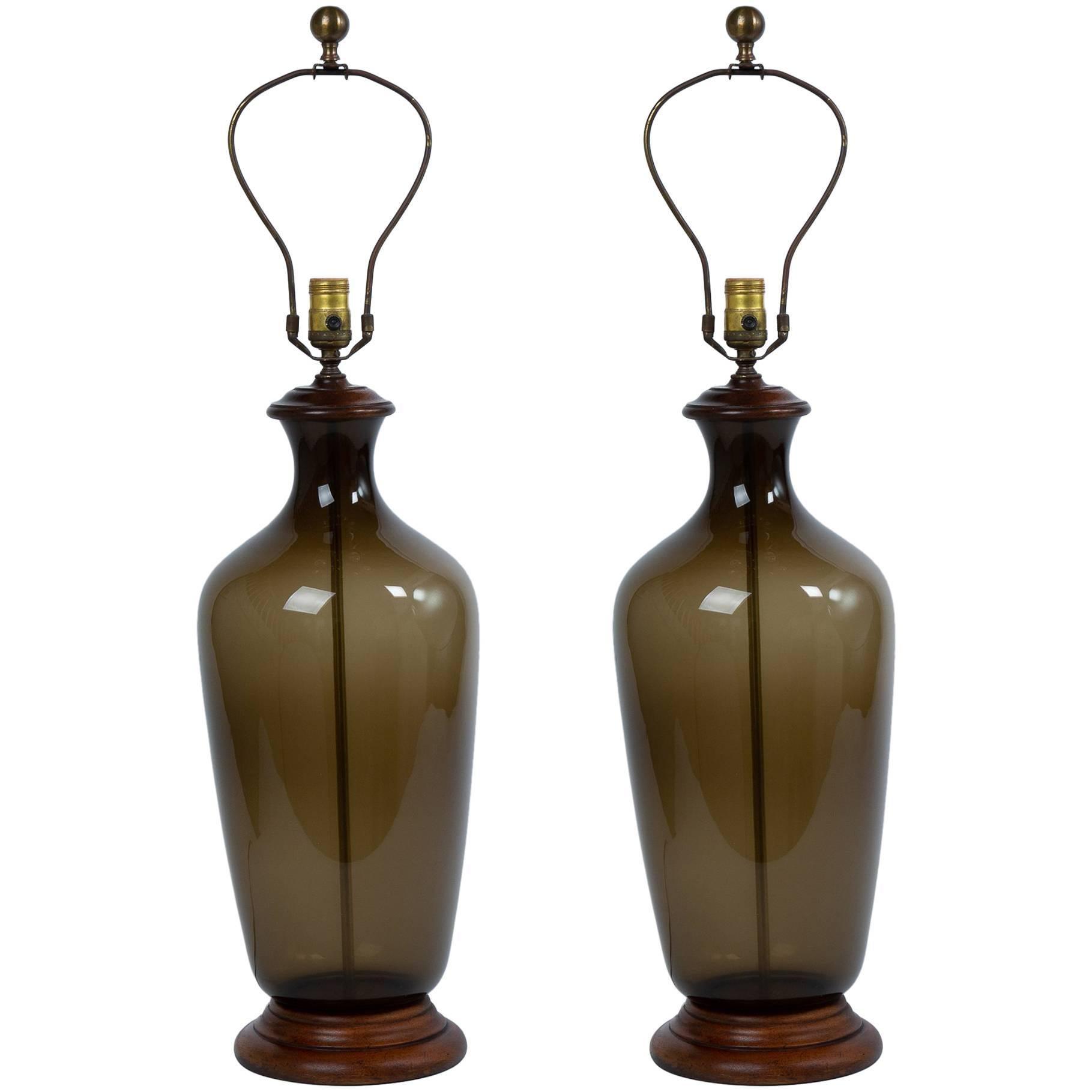 Pair Of 1970's Italian Smoke Glass Bottle Lamps
